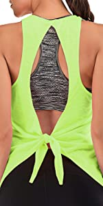 Womens Top with Built in Bra Sports Running Tank Workout Shirt Open Back Black Sports Tops
