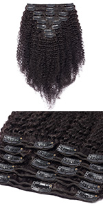 Clip in curly hair extensions