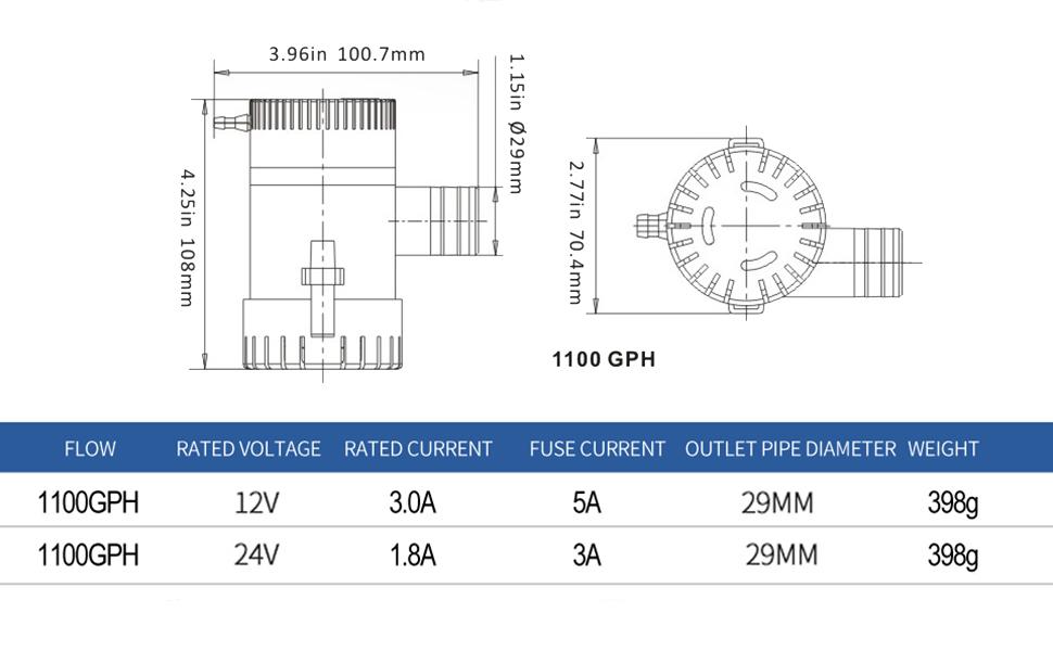 bilge pump 1100gph drawing and spec