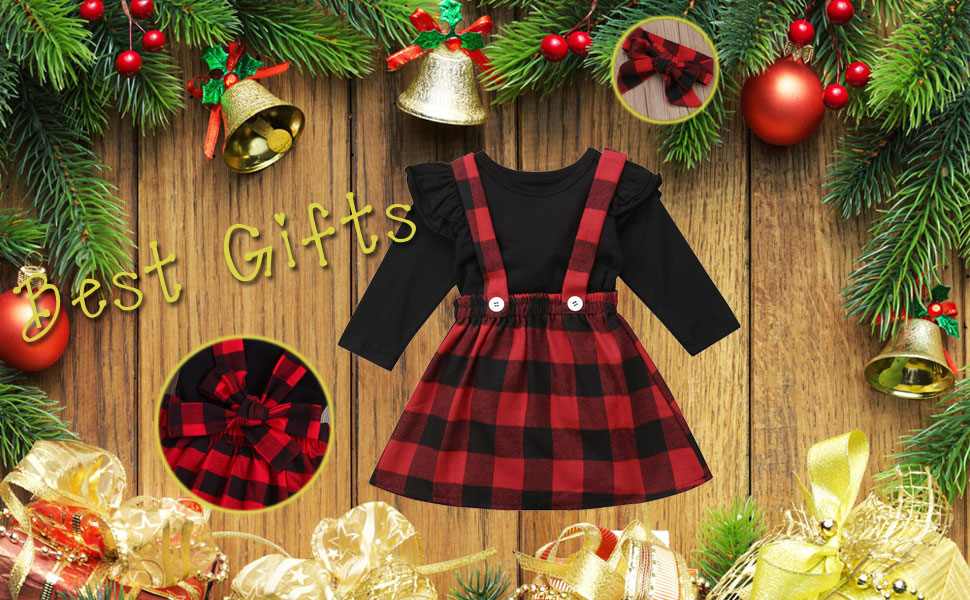 Newborn Baby Girls Christmas Outfits Suspender Skirts Set gifts