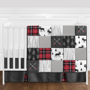 Grey, Black and Red Woodland Plaid and Arrow Rustic Patch Baby Boy Crib Bedding Set without Bumper