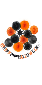 Halloween Decoration Kit Happy Halloween Banner Party Paper Fans Lanterns