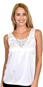 womens ladies slip top silk lace black white smooth under shirt