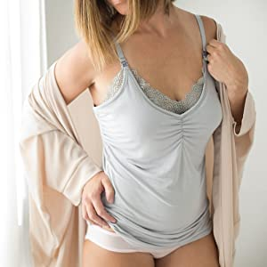 grey lace nursing cami