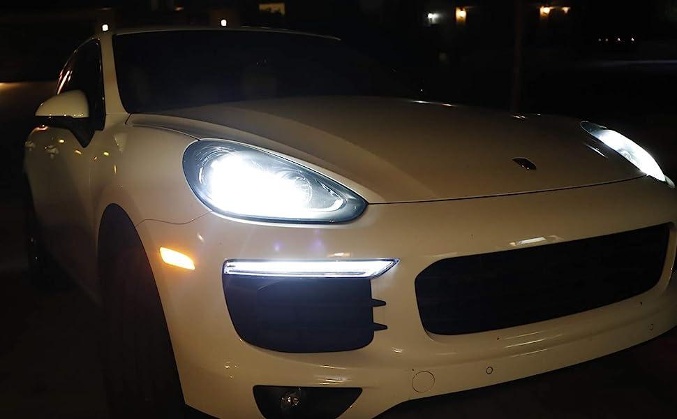 Smoked Lens Amber LED Bumper Side Marker 2015-2018 Porsche Cayenne Replace OEM Front Sidemarker