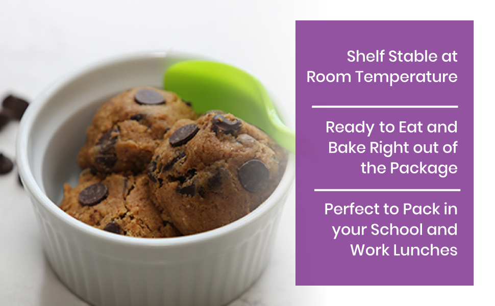 ready to eat cookie dough and shelf stable at room temp for weeks perfect for school or work lunches