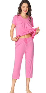 WiWi Short Sleeve Sleepwear Comfy Top with Pants Pajamas Set for Women