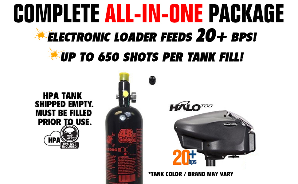 Maddog All-In-One Paintball Marker Gun Accessory Package Starter Kit Combo CO2 HPA Tank Hopper Pods