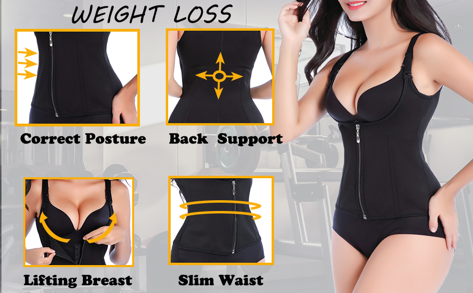 Women Waist Trainer Corset Zipper Vest Body Shaper Cincher Tank Top with Adjustable Straps