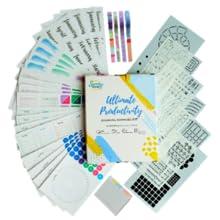 bullet journal supplies, bullet journal, journal organizer case holder, stickers, stencils, washi
