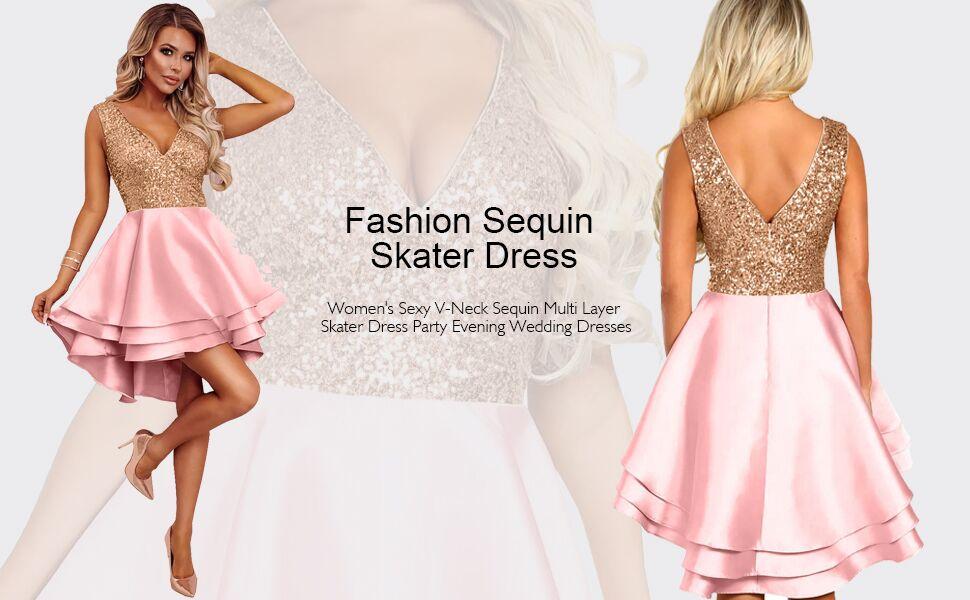 Women's Sequin Glitter Sleeveless Dress Sexy V Neck Mini Party Club Bodycon Swing Dresses