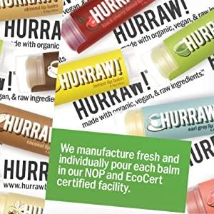 HURRAW Organic Vegan Cruelty Free Non GMO Gluten Free All Natural Luxury Tinted Raspberry Lip Balm