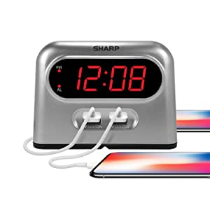 Sharp dual phone charger USB charge alarm clock