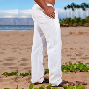 Mens Linen Loose Casual Beach Pants