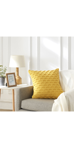 Sweater Knit Yellow Throw Pillow Covers