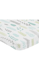 Blue Grey Tropical Leaf Unisex Baby Nursery Fitted Mini Portable Crib Sheet Mini Crib, Pack and Play