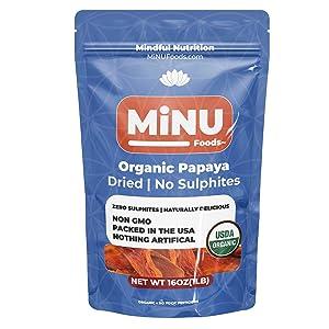organic papaya, minu foods, minu, papaya, no sulphur dioxide