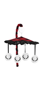 Woodland Buffalo Plaid Boy Baby Nursery Musical Crib Mobile - Red and Black