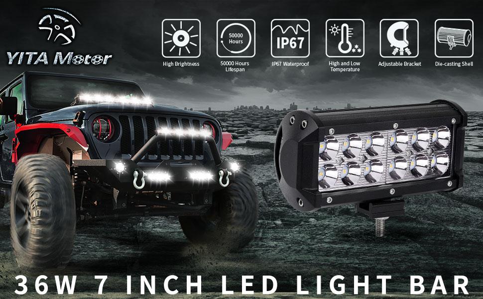 36w 7 inch 6 inch led light bar