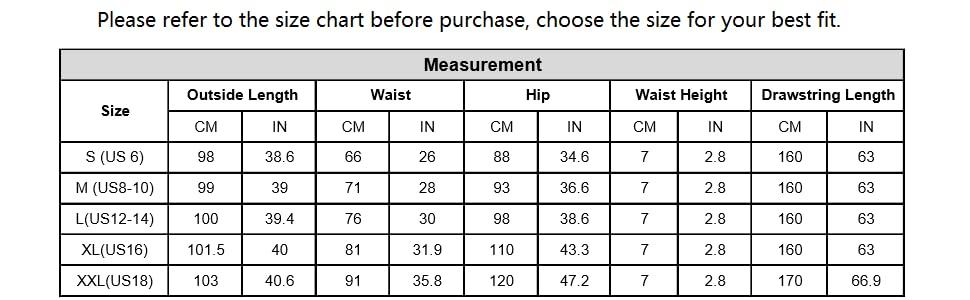 pj pants size chart