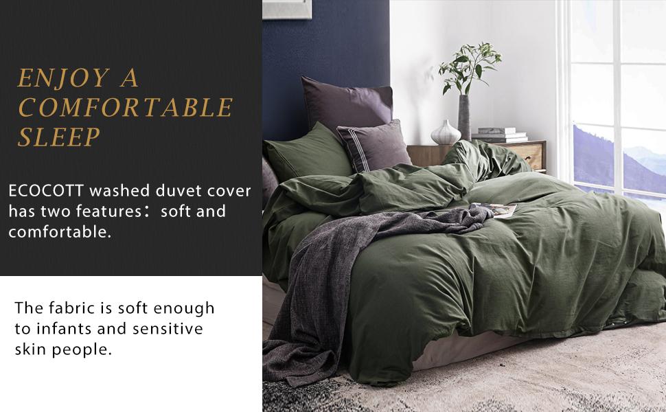 green duvet cover cotton set