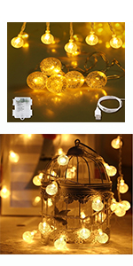 60 LED Warm White USB & Battery Operated Crystal Indoor & Outdoor String Lights party home decor