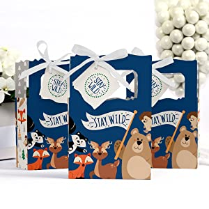 Stay Wild Forest Animals Woodland Baby Shower Birthday Bday Party Favor Boxes