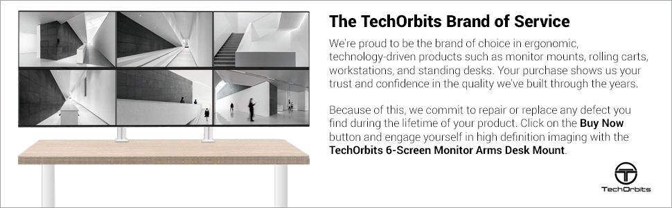 TechOrbits monitor stand cable management desktop computer rotating arm support VESA desk mount