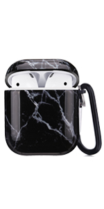 airpods case black marble