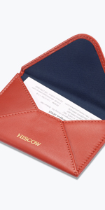 HISCOW Envelope Business Card Case with Magnet Closure - Italian Calfskin (Brick Red)