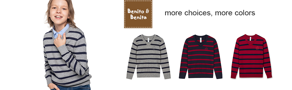 BOBOYOYO Boys Sweater Pullover Kids Long Sleeve Round Neck Cotton Knit Sweater Casual for Size 5-14Y Navy