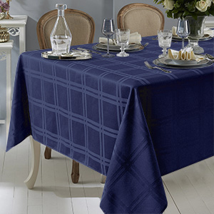 navy blue checkered table cloth decorative jacquard fabric tablecloth waterproof for everyday use