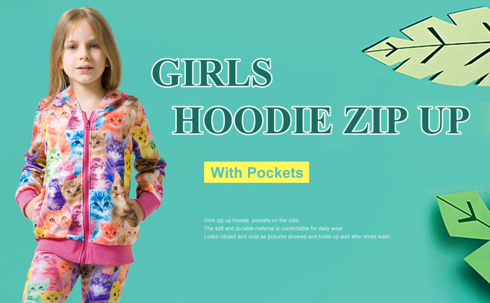 QPANCY Hoodie for Girls Zip Up Jackets