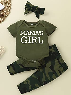 Baby letter camo outfit set
