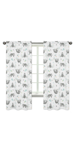 Sweet Jojo Designs Blue and Grey Jungle Sloth Leaf Window Treatment Panels Curtains - Set of 2