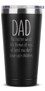 new dad Birthday Gifts for Women Men - 16 oz Black Insulated Stainless Steel Tumbler w/Lid