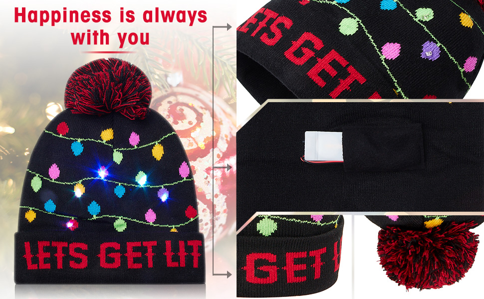 colorful LED light up beanie