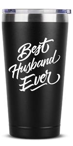 Best Husband Ever - 16 oz Black Insulated Stainless Steel Tumbler w/Lid Mug Cup
