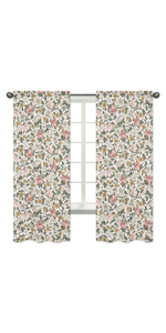 Vintage Floral Boho Window Treatment Panels Curtains - Set of 2 - Blush Pink, Yellow, Green, White