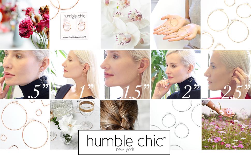 Humble Chic Women's Round Hoop Earrings - Hypoallergenic Lightweight Wire Threader Loop Drop Dangles
