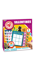 36 PC Valentines Day Gift Cards of Animal & Character Tic Tac Toe