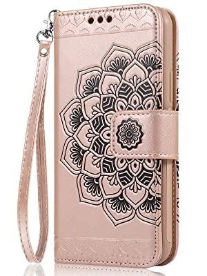 iPhone 8 iPhone 7 Flip Mandala Embossed Leather Wallet Cases with Protective Slim Case Fit Car Mount