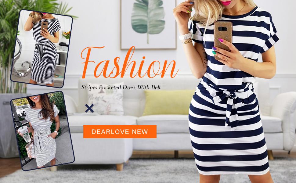 Dearlove Women Short Sleeve Striped Casual Tunic Dress for Work Large Blue
