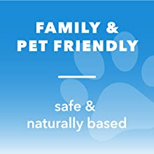 """Image with text that reads """"Family & pet friendly"""" and """"safe & naturally based"""" with image of paw."""