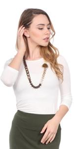 1215 modest boat neck 3/4 sleeve layer women shirt undershirt base kosher modest