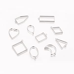 Silver open backs bezels for resin jewelry making pendant handmade craft home