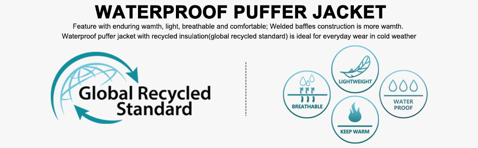 waterproof puffer jacket lightweight breathable waterproof