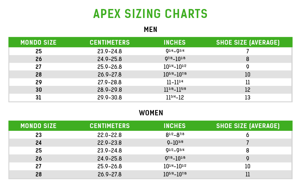Apex men's sizing chart, women's sizing chart