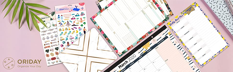 Oriday planner accessories designed in California, US