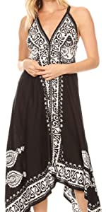 sleeveless spaghetti midi short long maxi batik solid white black summer casual v-neck stretchy nice